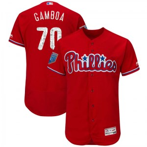 Arquimedes Gamboa Philadelphia Phillies Youth Authentic Flex Base 2018 Spring Training Majestic Jersey - Scarlet