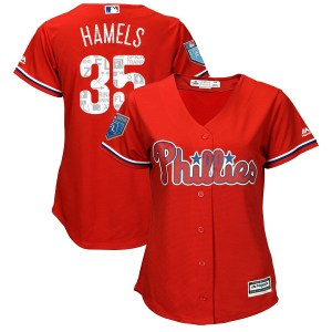 Cole Hamels Philadelphia Phillies Women's Replica Cool Base 2018 Spring Training Majestic Jersey - Scarlet
