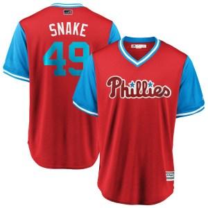 """Jake Arrieta Philadelphia Phillies Replica """"SNAKE"""" Scarlet/ 2018 Players' Weekend Cool Base Majestic Jersey - Light Blue"""