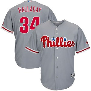 Roy Halladay Philadelphia Phillies Youth Authentic Cool Base Road Majestic Jersey - Gray
