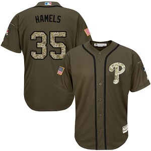 Cole Hamels Philadelphia Phillies Replica Salute to Service Majestic Jersey - Green